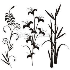 Набор 3 японский цветочный дизайн — Векторная картинка #22533763