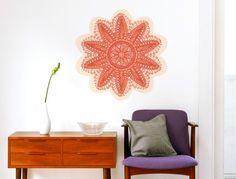 Superb Wandtattoo Mandala Blume in orange