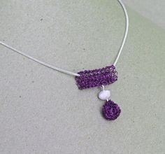 Unique wire crochet pendant on a sterling silver chain. by ByDrora, $30.00