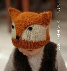 Baby Knitting Patterns Hat Pattern knit beanie Foxy & Wolfi sizes one from KatyTricot, €