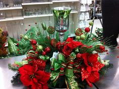 Lime green and red christmas centerpiece