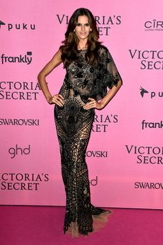 Izabel Goulart Evening Dress Izabel Goulart chose an asymmetrical, intricately patterned black and nude gown by Zuhair Murad for her Victoria's Secret after-party look. Brand: Zuhair Murad