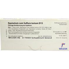 EQUISETUM CUM Sulfure tostum D 15 Ampullen:   Packungsinhalt: 8X1 ml Ampullen PZN: 01621968 Hersteller: WELEDA AG Preis: 13,68 EUR inkl.…