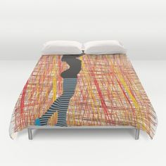 Silhouette ladies in striped stockings Duvet Cover