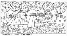RUG-HOOK-PAPER-PATTERN-Blooming-Farm-FOLK-ART-Karla-G