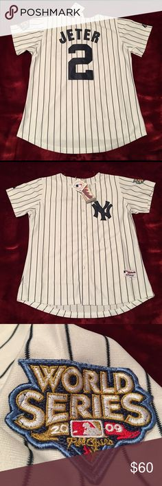 NWT NY Yankees #2 Derek Jeter World Series Jersey NWT (New With Tags). Never Worn. Majestic Authentic Jersey. #2 Derek Jeter World Series Jersey. Sewn Numbers, Name, Patches. Youth Size Medium. Majestic Shirts Tees - Short Sleeve