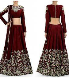 Buy Red embroidered art silk unstitched lehenga-choli lehenga-choli online