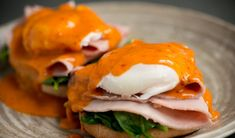 Eggs Benedict With 'Nduja Hollandaise Recipe Dinner Dishes, Food Dishes, Dinner Recipes, Nduja Recipe, Perfect Poached Eggs, Creamy Eggs, Hollandaise Sauce, Cooking Supplies, Little Chef