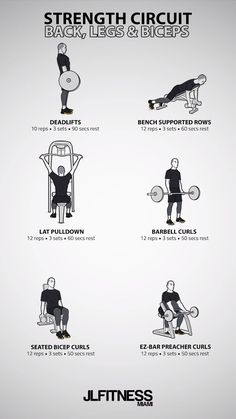 Back, Biceps & Legs - Fitness - Workout Back Workout Men, Gym Workout Tips, Weight Training Workouts, Ab Workout At Home, Dumbbell Workout, Workout Videos, Back Workouts For Men, Mens Fitness Workouts, Arrow Workout