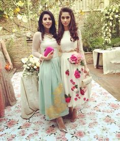 Pakistani outfits by Rishmal (L) & Zehra Saleem (R).