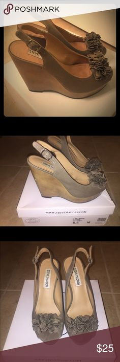 Steven Madden Casual Wedges Sz 6.5 Worn once. Steve Madden army green/brown wedges. Size 6.5. Ask away :) Steve Madden Shoes Wedges