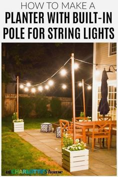DIY Planter with Pole for String Lights Diy Wooden Planters, Outdoor Planters, Outdoor Patios, Outdoor Ottomans, Outdoor Cafe, Outdoor Pergola, Outdoor Seating, Wooden Diy, Pergola Diy