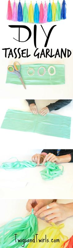 How to make a tissue tassel garland-  easy DIY with our fab. kits! Free shipping on TwigsandTwirls.com