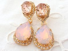 Pink opal Chandelier earrings, Bridal earrings, Bridesmaids gift, Dangle earrings, Drop earrings, Weddings jewelry, Swarovski rhinestones $84.00