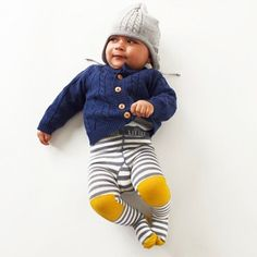 Grey stripe tights with yellow knee patches