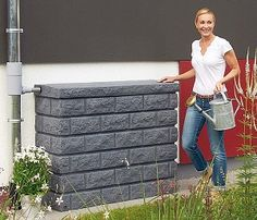 Rocky Wall Tank - Granite, 106 Gallons - RainHarvest Systems Online Store for Rainwater Collection, Filtering and Sustainable Re-use.