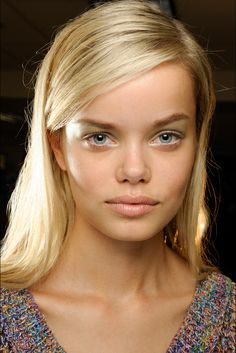 Frida Aasen at Derek Lam. Love the soft green up to the brow.