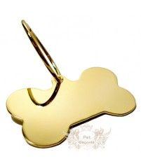 Pingente Folheado a Ouro Formato de Osso Liso - Pequeno - Gravação Nome e Telefone