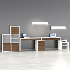 Nexera Liber-T 2 Person Desk with Filing Cabinet - White and Espresso | from hayneedle.com