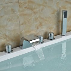 81.60$  Know more  - Chrome Brass Finish 5 Pcs Waterfall Bathtub Sink Tap Bathroom Mixer Hand-held Shower Faucet Set