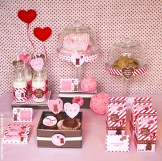Valentine's Day Party pink and red desserts table cookies and milk