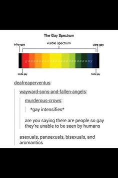 I'm so gay that my gay is unseeable, just like my other pan, bi ace and aro fam <<< According to this very accurate chart, I am technically gay. Bring on the shitty puns. << I've very invisible, in that case. Like woah. The gay spectrum