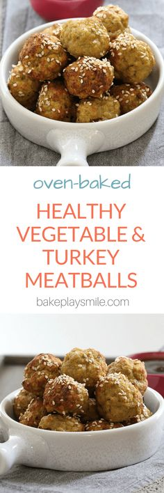 Delicious Healthy Vegetable & Turkey Meatballs oven baked to perfection! These make a great finger food meal for toddlers and kids… and they can be frozen for a quick and easy 'grab and reheat' snack! Lunch Box Recipes, Entree Recipes, Baby Food Recipes, Appetizer Recipes, Veggie Recipes, Healthy Snacks For Kids, Healthy Baking, Healthy Meals, Turkey Meatballs