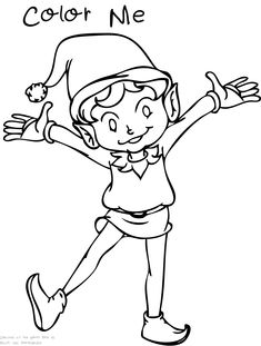 An Elf Coloring Page For Some Fun Girl Christmas