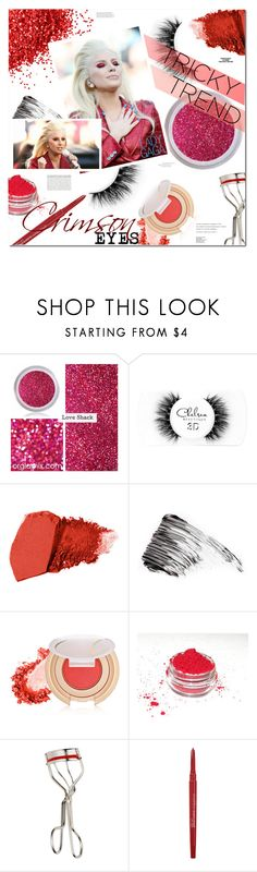 """""""TRICKY TREND: CRIMSON EYES"""" by stacey-lynne ❤ liked on Polyvore featuring beauty, Chelsea Beautique, Jane Iredale, Ellis Faas, Kevyn Aucoin, Tiffany & Co., Smashbox, Rika and Balenciaga"""
