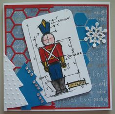 X069 Hand made Christmas card using Tim Holtz Soldier Blueprint stamp