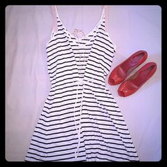 Club Monaco Stripe  Dress This is a classic with a twist. A summer must have. This dress has another spaghetti strap short dress on the inside. Club Monaco Dresses