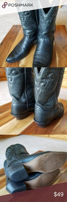 Leather cowgirl boots 7.5 Maker mark has rubbed off but I purchased in a western shop in Carmel, Ca. and I'm 98% sure they're Justine or Laredo's.,whichever good boots! Good sturdy condition. Justin Boots Shoes Heeled Boots