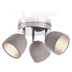 Deckenleuchte mit 3 Spots, modern, Beton und Metall Vorderansicht, Achtung! Innen Silber, nicht Gold!