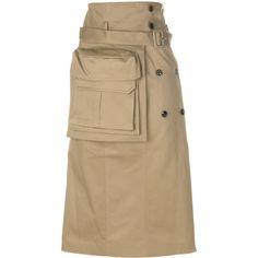 juun.j Long Cotton Skirt With Pockets (€820) ❤ liked on Polyvore featuring skirts, beige, cotton skirts, long brown skirt, beige skirt, brown cotton skirt and brown skirt