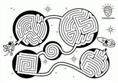 Menta Más Chocolate - RECURSOS PARA EDUCACIÓN INFANTIL: Laberintos sobre el UNIVERSO Activity Sheets For Kids, Mazes For Kids, Art For Kids, Dyslexia Activities, Kids Learning Activities, Steam Activities, Maze Worksheet, Kids Connection, Maze Puzzles