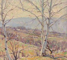 Emile A. Gruppé (American, 1896-1978)      Spring Landscape with Birches