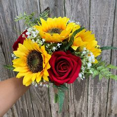 Sunflower Bouquet with Red Roses Sunflower Bridesmaid Bouquet, Red Rose Bouquet, Sunflower Bouquets, Wedding Bouquets, Sunflower Weddings, Wedding Dresses, Prom Flowers, Wedding Flowers, Red Rose Wedding