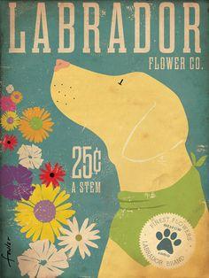Yellow Dog Labrador retriever flower company original graphic illustration 12 x 16 giclee archival signed artists print. $40.00, via Etsy.
