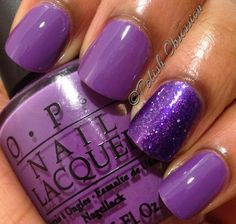 OPI Pack Your Booty Shorts and Smitten Polish Lovely Lilacs as ring accent nail - Pack Your Booty  Shorts is an Ulta exclusive by OPI from summer 2012.