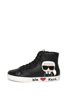 Karl Lagerfeld - Pantofi sport înalți de piele Skool Converse Chuck Taylor High, Converse High, High Top Sneakers, Fashion Days, Chuck Taylors High Top, Karl Lagerfeld, High Tops, Shoes, Hi Top Converse
