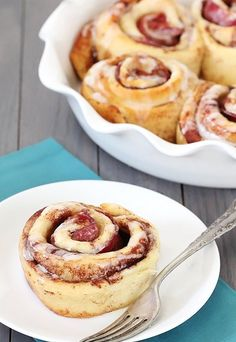 Cinnamon Rolls with Bacon wrapped in them!!  Say WHAT?????  yummy!!