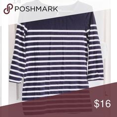 Striped Sailor Top Classic nautical striped shirt in thick, stretchy jersey. 3/4 length sleeves. Purchased on Posh 2 years ago and wore under 10 times. Nautica Tops Tees - Long Sleeve