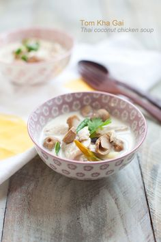Tom Kha Gai Recipe (Thai Coconut Chicken Soup), a very popular Thai soup commonly found in Thai restaurants in the US.