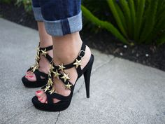 Jazz up your boring black sandals with star studs