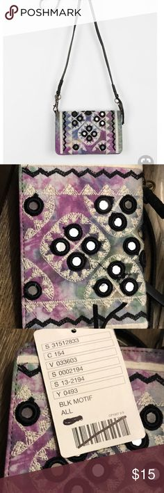 Urban Outfitters Ecote Baby Tava Crossbody Wallet NWT, crossbody wallet, purple rye dye with silver sequin. Smoke free home. Urban Outfitters Bags Wallets
