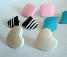 Vintage 1980s earring lot Hearts and Geometric by DejaBlonde