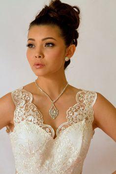 Bridal Jewelry Wedding Jewelry Rhinestone Necklace Swarovski Wedding Necklace by kareninadesigns, $52.00