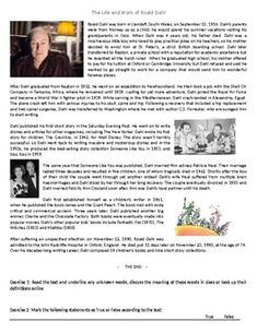 The Life and Work of Roald Dahl - Reading & Comprehension Exercises Comprehension Exercises, Reading Comprehension Worksheets, Roald Dahl Activities, Learn English, Esl, Biography, Teaching Resources, Lesson Plans, Writers