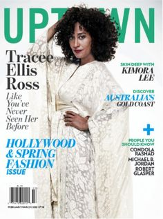 Tracee Ellis Ross's gorgeous kimono robe on the cover of Uptown