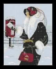 ART DECO CROSS STITCH CHART - WINTER FLAPPER LADY POSTING LETTER chart no50